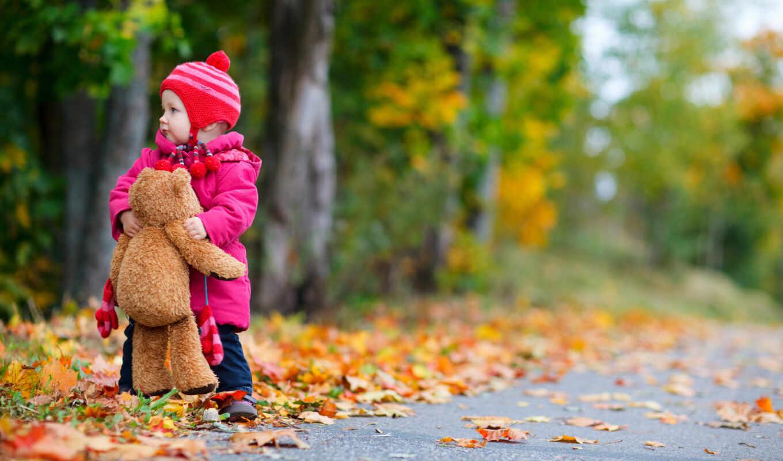 девушка, осень, ребенок, baby
