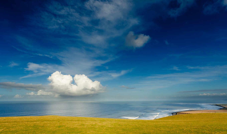 небо, берег, море, облака, download, summer, day, картинку, coast, кнопкой,