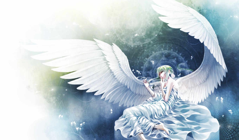 anime, angel, янв, белом, платье,