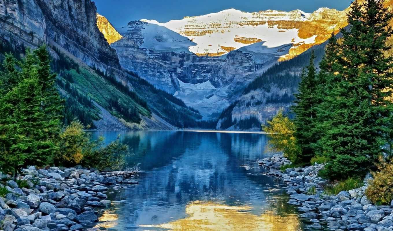 природа, природы, горы, озеро,