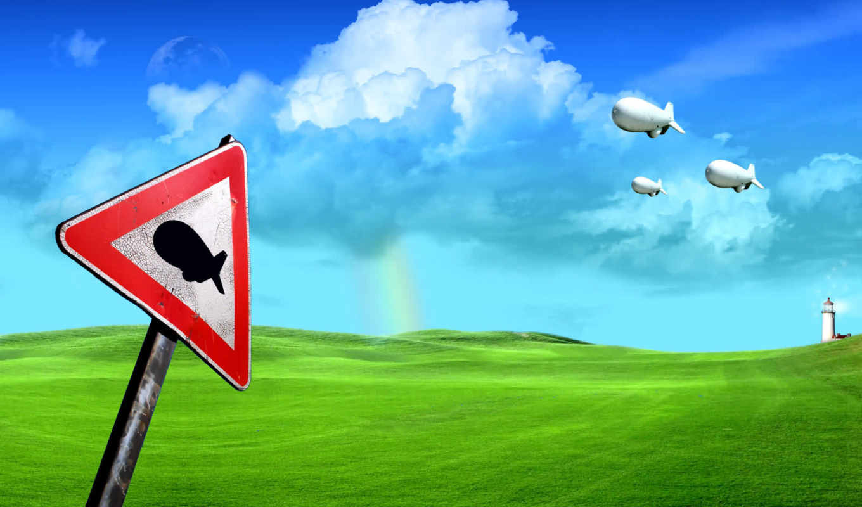 rn, обои, знак, дирижабль, трава, зеленый, облака,