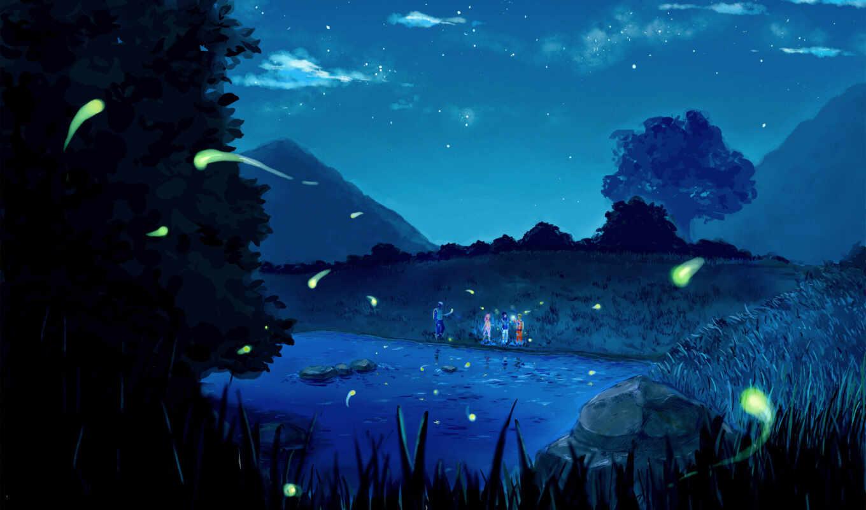 anime, ночь, naruto, озеро, природа, art, oblaka, звезды, горы,