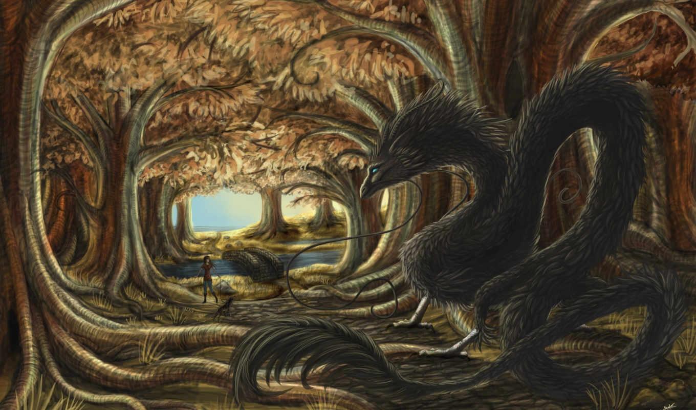 фантастика, арт, девочка, лес, дракон, фэнтези, картинка, картинку,