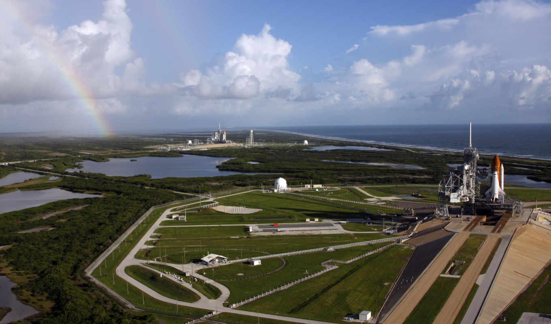 космодром, радуга, пейзаж, ракета, установки, картинка, шатлы, дороги, носитель, space,