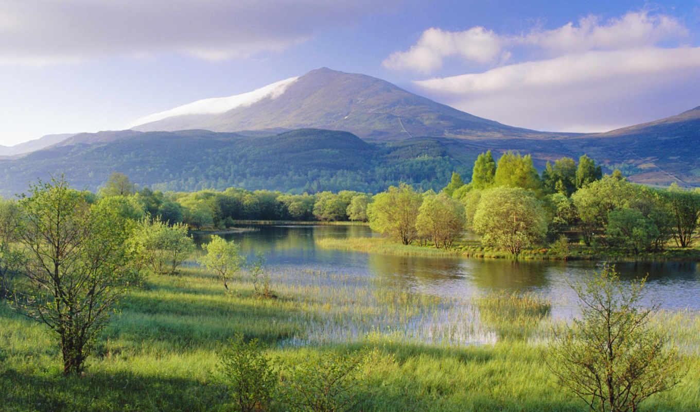 scotland, mountain, landscape, lake, природа, tweet, mount, schiehallion, rain, distance, after, background, desktop, лес, холмы, горы, берег,