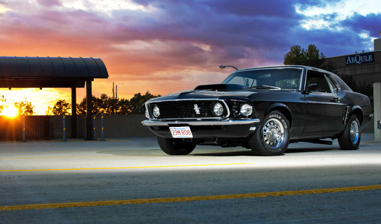 ford, mustang, езжу, лучи, закат, машина, этого, авто,