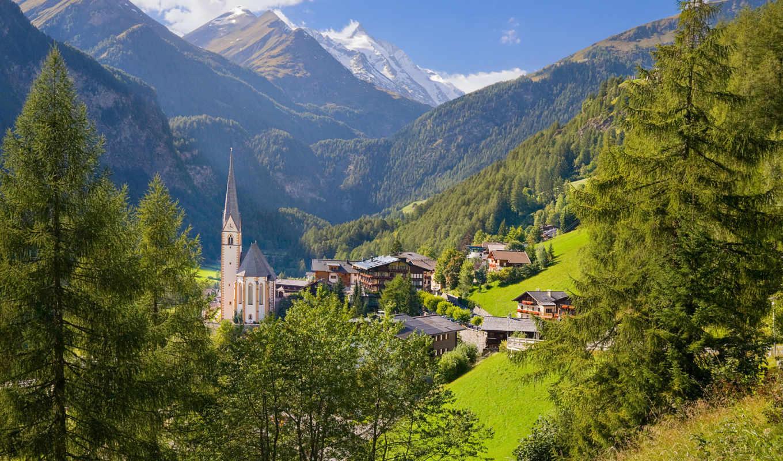 австрия, деревня, дома, heiligenblut, горы, деревья,