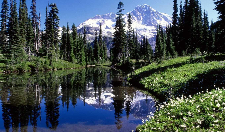 горы, здания, voda, деревя, minecraft,