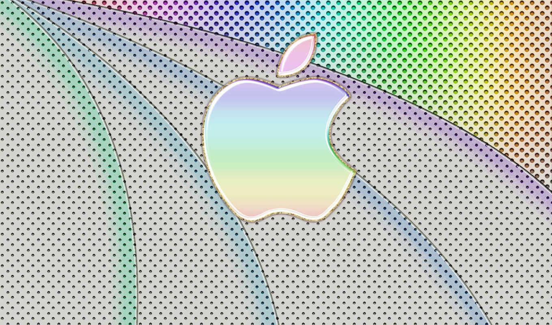 apple, лого, разноцветный, точки, полосы