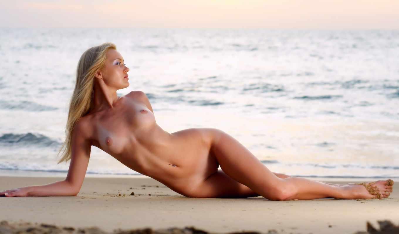 , monika, закат, пляж, блондинка, грудь, секси,