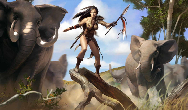 слон, охотница, воин, копьё, девушка, саванна, fantasy, kazandu, воительницы, woman, women, картинка, level, joraga, eldrazi, magic, gathering, this, elephants,
