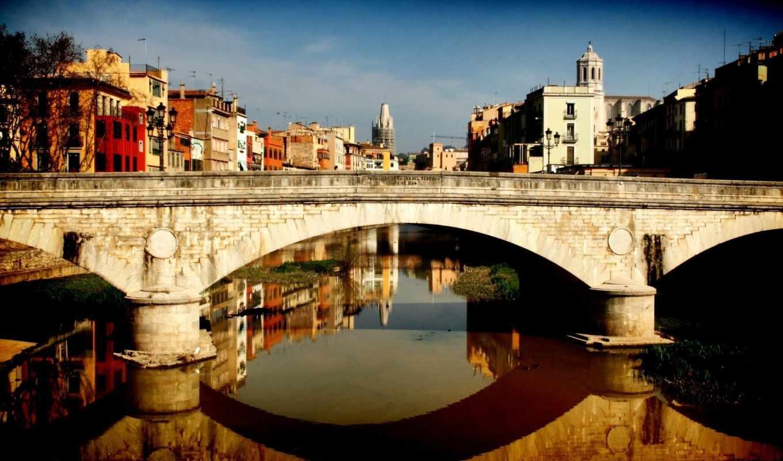 мост, город, река, картинка, канал, дома, girona, картинку, landscape, reflection, ancient, spain,