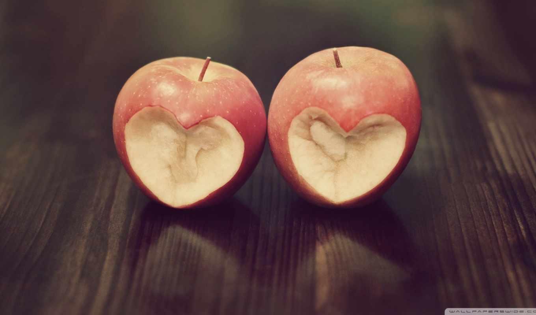 любовь, яблоко, древесина, блеск