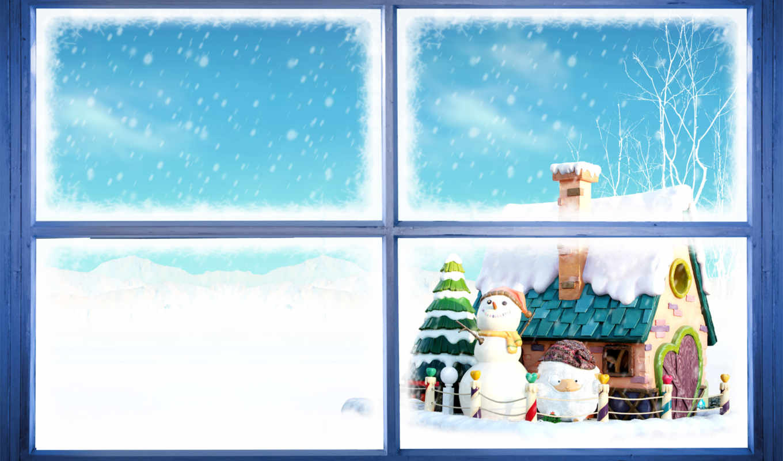 снеговики, new, год, окно,