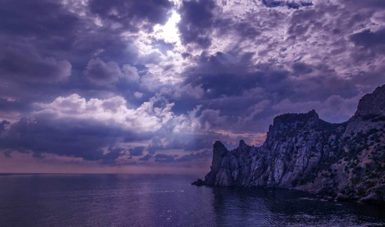 облака, тучи, море, лучи, разных, облаках, солнечные,