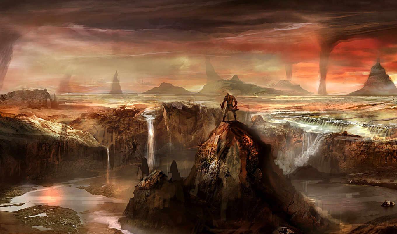 горы, водопад, cliff, река, скалы, landscape, мужчина, god, war,