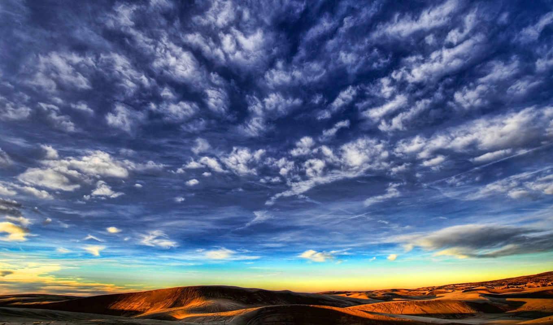 облака, небо, перистые, природа, пустыня, горы,