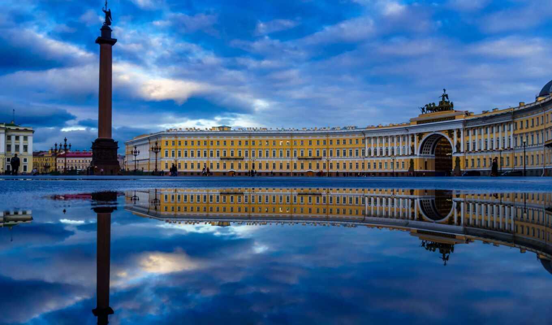 санкт, петербург, площадь, дворцовая, peter, город, россия,