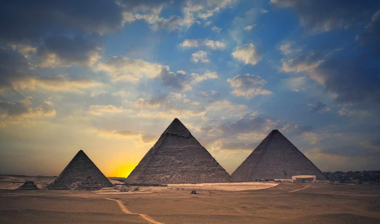 пирамиды, египет, закат, пирамида, пустыня, гизе,