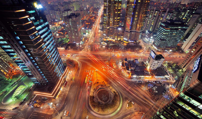сеул, korean, город, огни, южная, ночь, выдержка,