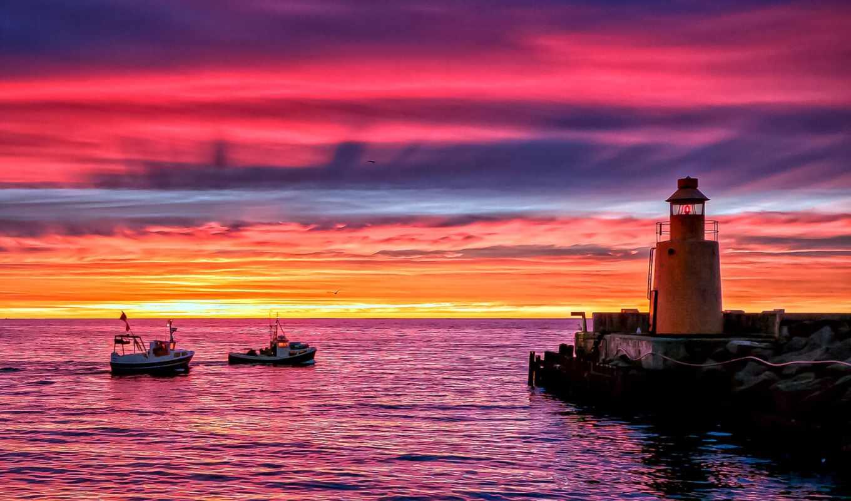 море, закат, lighthouse, берег, pier, вечер, ocean, причал, катера, категории,