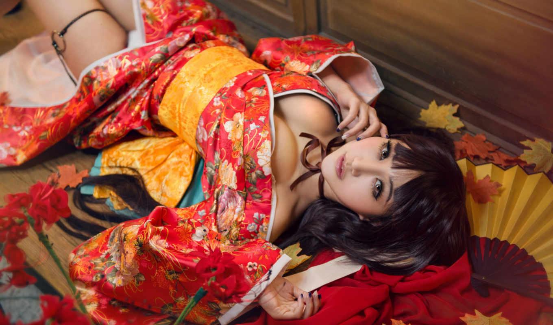 девушка, платье, японка, азиатка