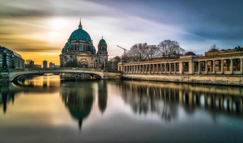 berlin, мост, museum, германия, cathedral, закат, остров, james, park, саймон