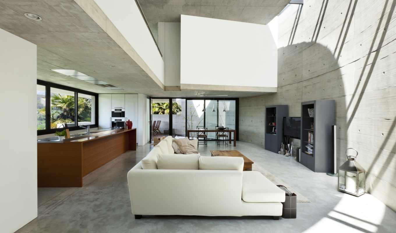 интерьер, дизайн, белый, диван, серый, стиль, дом, tech, монитора,