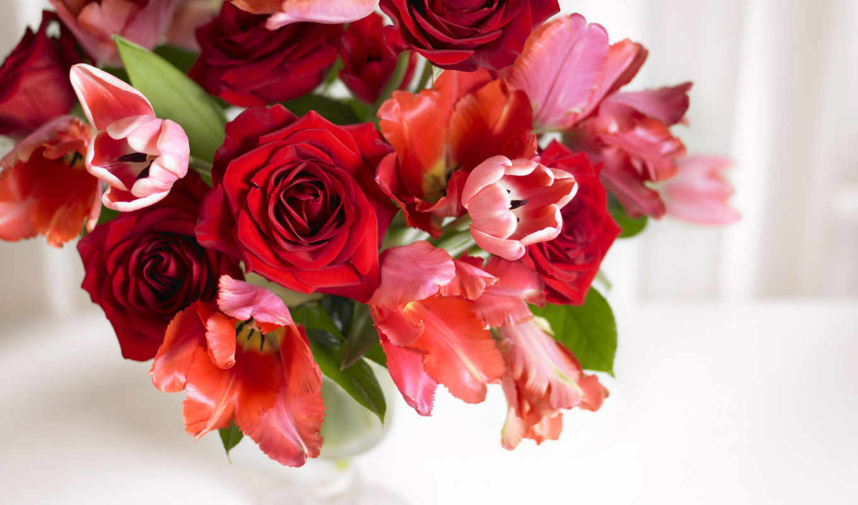 букет, розы, тюльпаны, ваза, аромат, картинка, flowers, картинку, bouquet, roses, мыши, кнопкой, цветы, цветов, wallpapers, to,