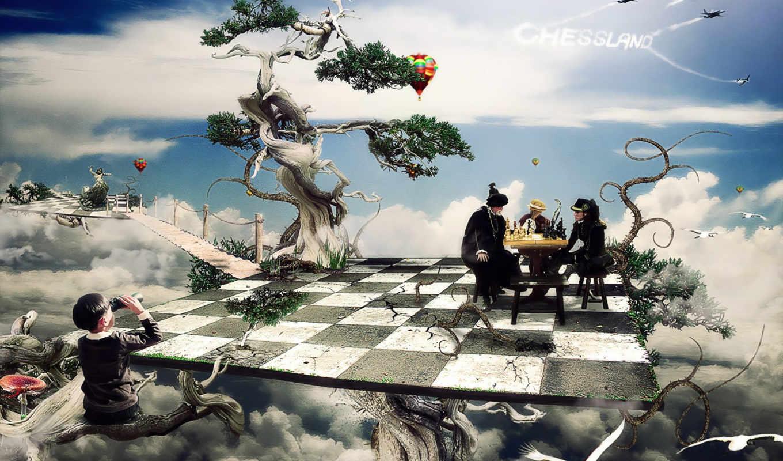 шахматы, клетки, доска, мальчик, деревья, фантастика, fantasy,