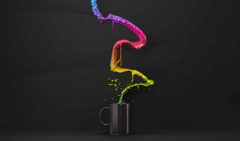 flow, cup, iphone, минимализм, креатив, стакан, ipad, жидкости, rainbows, cups, кружка,