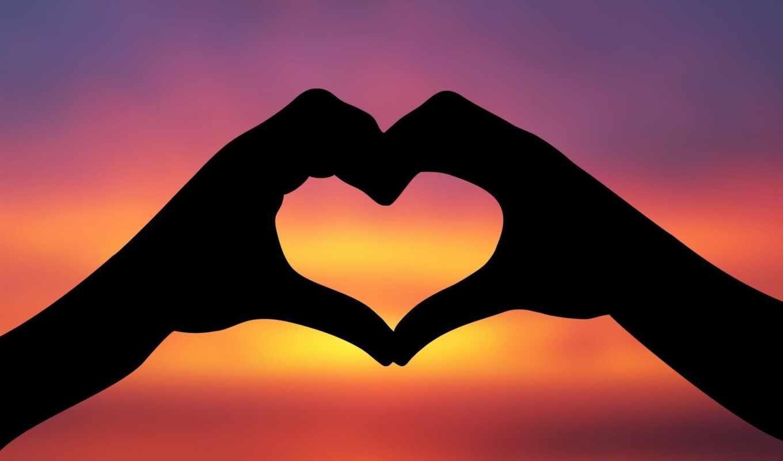 сердце, руки, закат, силуэт