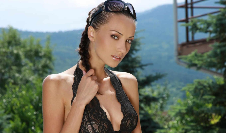 анна, sbitnaya, девушка, sun, природе, aj, зелёный, модели, брюнетка, разрешением, грудь, очки,