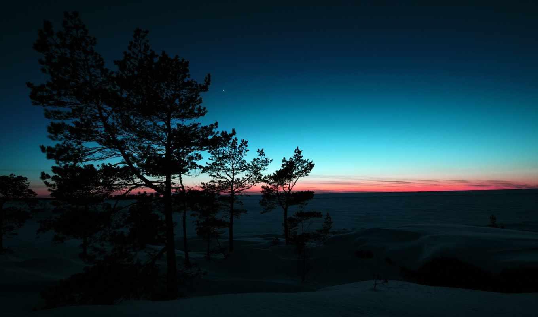 рассвет, winter, горы, landscapes, аудиокнига, слушать, trees, закате,