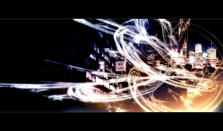 fractals, midnight, красивых, digital, города,