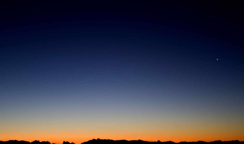 , небо, закат, звезда, красиво,