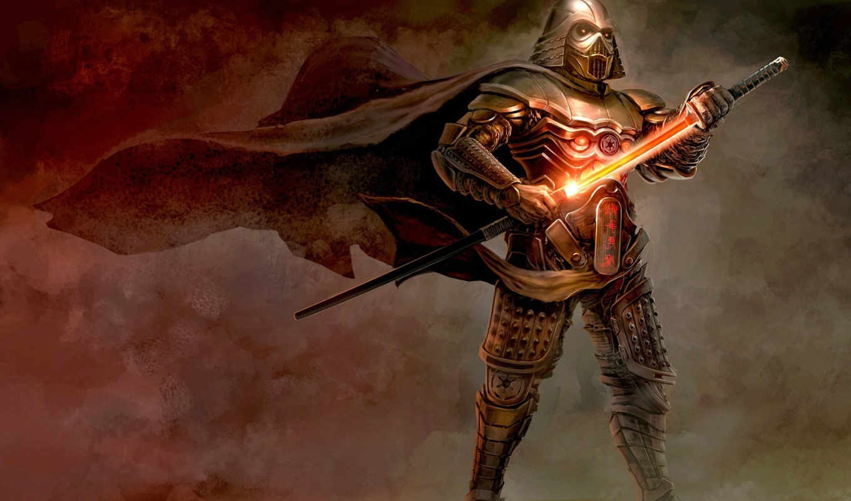 vader, darth, star, wars, меч, samurai, шлем, броня, арт, ветер,