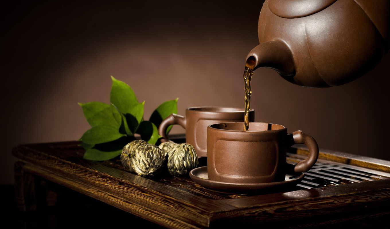 красивые, чайник, нравится, чашки, чая, глиняная,