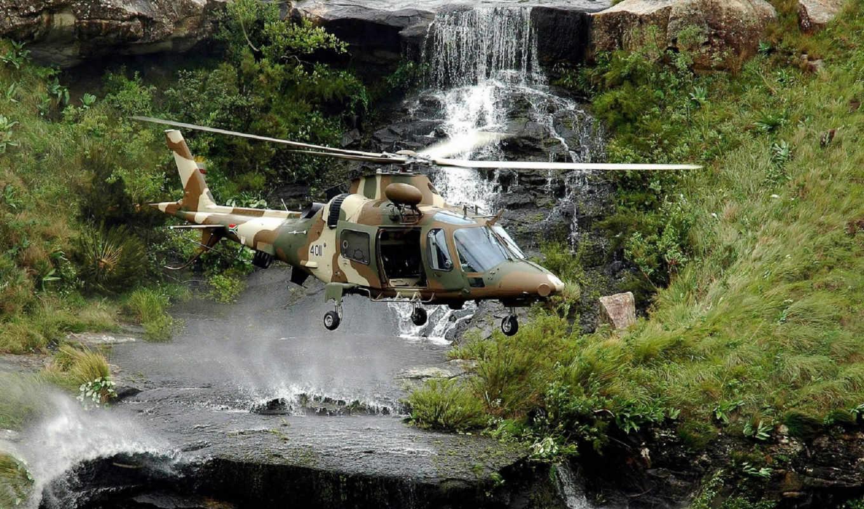 авиация, вертолёт, водопад, горы, вода, лес