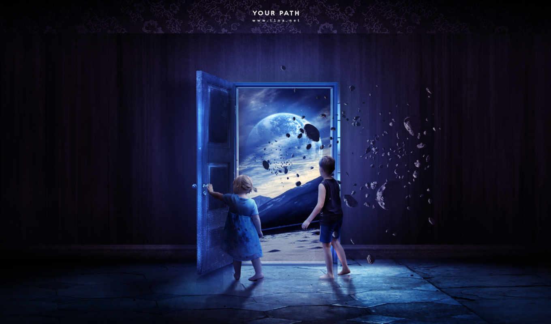 fantasy, девушка, дверь, путь, фотоарт, boy, cosmos,