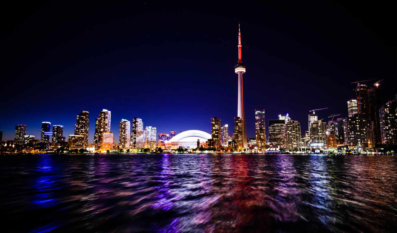 toronto, full, downtown, free, город, high, ночь, nightscape,