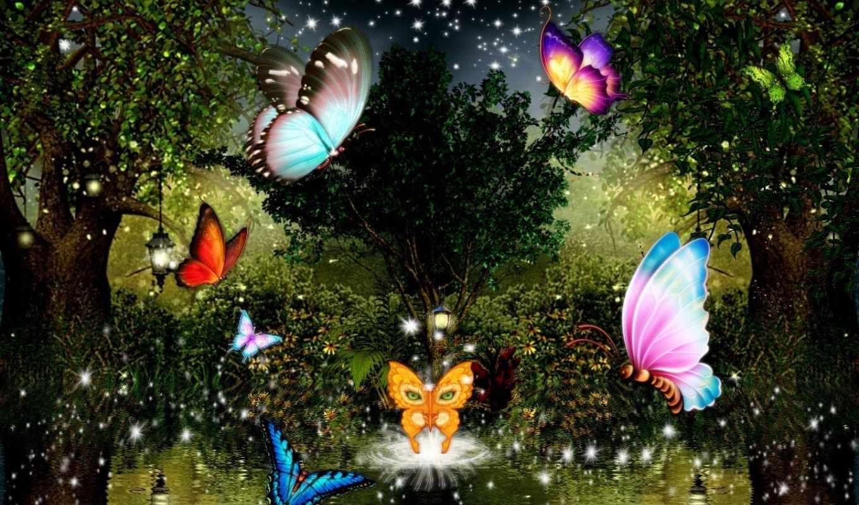 Картинка ночь луна цветы бабочки анимация, гифы она