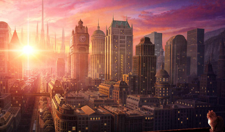 кот, солнце, небо, небоскребы, здания, машины, деревья, улицы, город, спокойствие, движение, статуя, картинка, картинку,