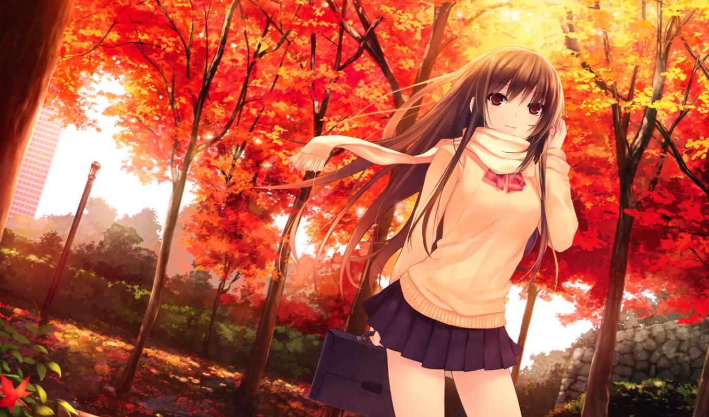anime, uniforms, girl, kizoku, coffee, hair, brown, royal, aurora, mountain, autumn, blend, leaves, eyes, long, similar, original,