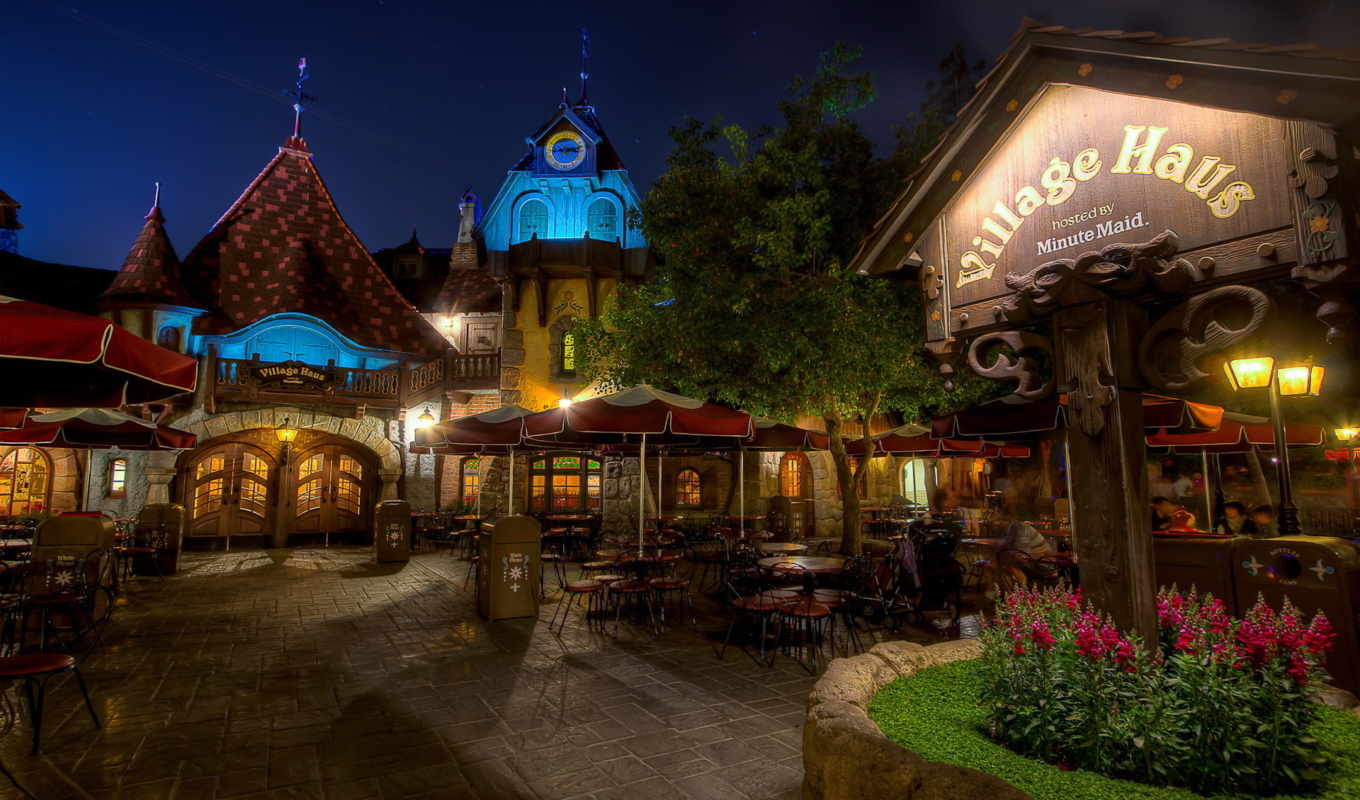 street, night, usa, california, cities, café, disneyland, download, photo,