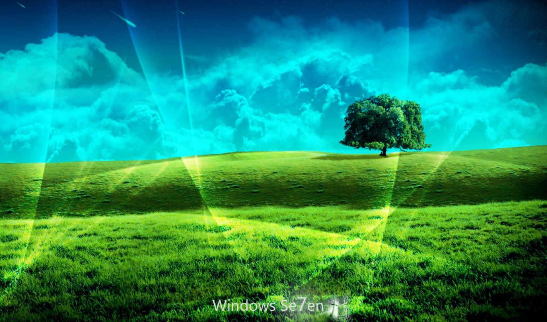 windows, se7en, лого, холмы, дерево, небо, облака