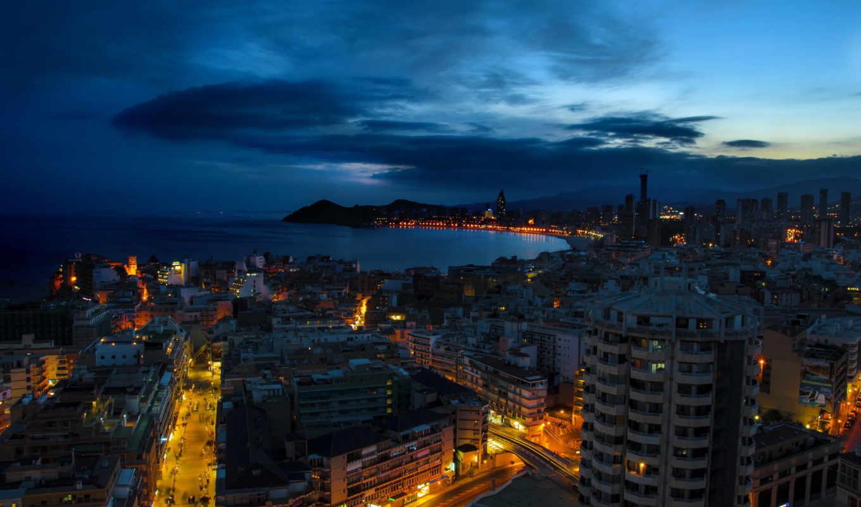 benidorm, испания, город, ночь,