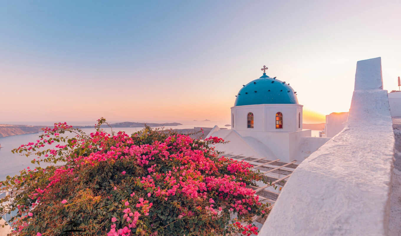 greece, море, bougainvillea, oia, dome, цветы, church, aegean, santorinit