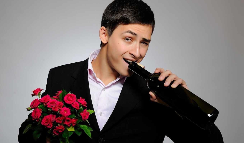 мужчина, парень, цветы, красивый, букет