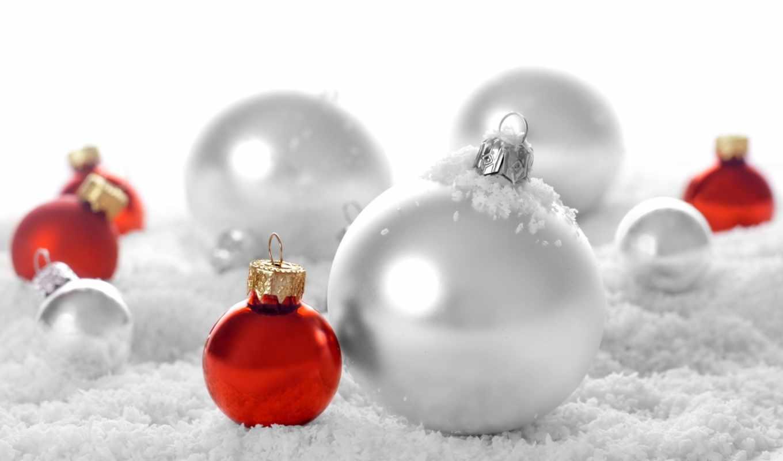 красные, белые, шарики, искуственном, снеге,